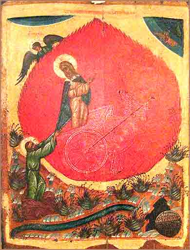 Fiery Chariot of Elijah, Bible, Russian icon