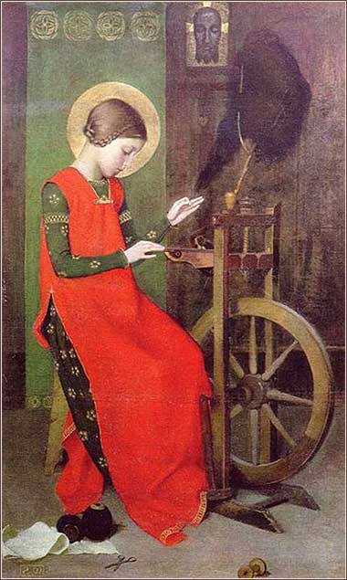 <i>Elizabeth of Hungary Spinning for the Poor</i> by Marianne Stokes, ca. 1895.