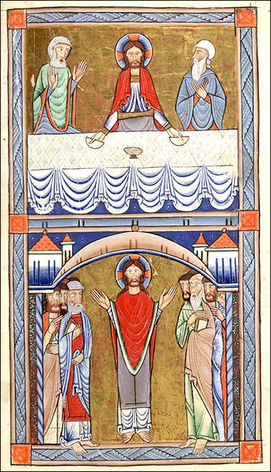 <i>Emmaus</i> from the Hunterian Psalter, English ca. 1170.