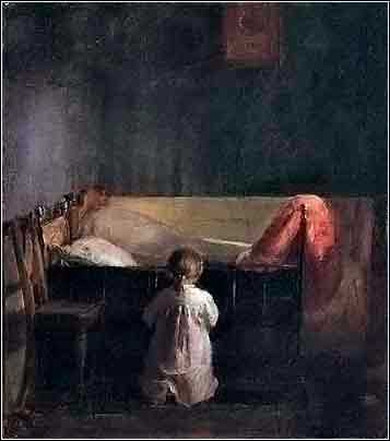 Evening prayer, little girl praying