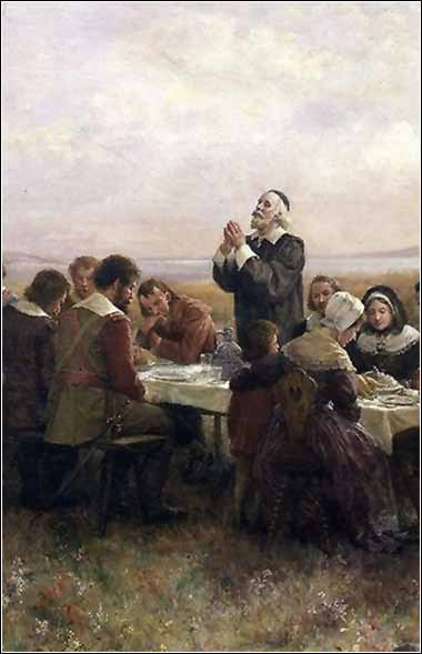 Devotional painting by Brownscombe, First Thanksgiving