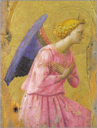 <i>Adoration of an Angel</i>, Fra Angelico ca. 1430.
