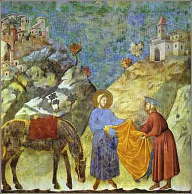 Giotto, Saint Francis of Assis Giving his cloak to a poor man, devotional Christian artwork