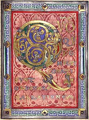 "Initial ""Q"" from an illuminated German Psalter, ca. 1120."