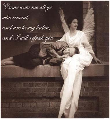 Guardian angel, Come unto me all you who travail weary, Bible Matthew 11:28