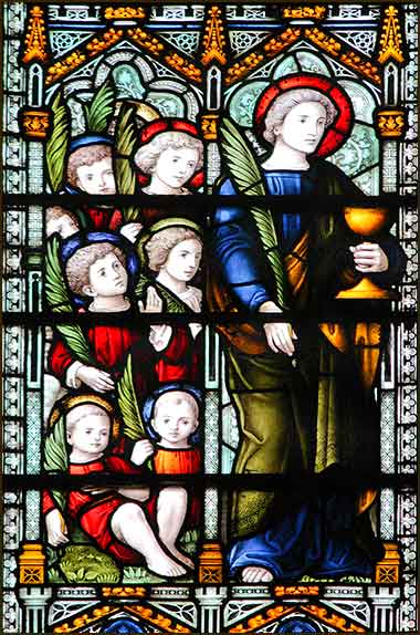Devotional stained glass window of Saint John and the Holy Innocents, St. James Church, London
