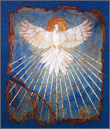 The Holy Spirit as a dove, devotional painting