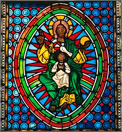 Ancient stained glass of the Holy Trinity, Hessen, @ 1250 A.D.