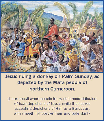 Mafa depiction of Jesus on Palm Sunday