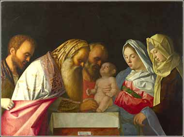 Devotional painting of the circumcision of Jesus, by Bellini, c. 1500