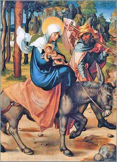 Devotional painting of Jesus, Mary and Joseph Flight to Egypt by Albrecht Durer