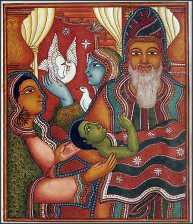 Devotional painting of The Dedication of Jesus, by A.K. Satheesan, and Indian Christian