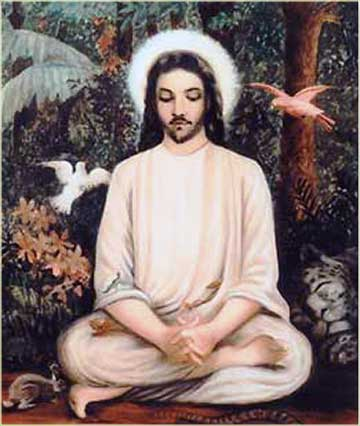 Indian painting of Jesus meditating in the forest