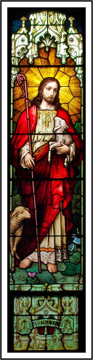 stained glass Jesus and lamb