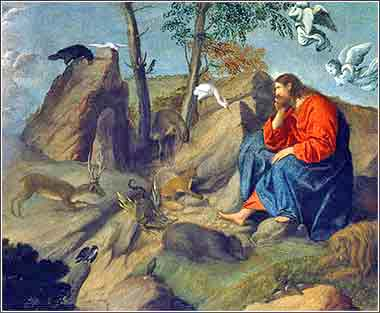 Christ in the Wilderness, devotional painting by Moretto da Brescia (Alessandro Bonvicino)