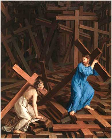 <i>Jesus and Woman with Crosses</i>, contemporary, artist unknown.