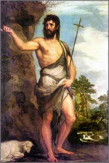 Devotional painting of John the Baptist by Titian