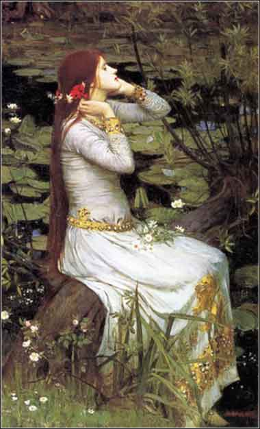 Devotional painting of Ophelia by John Waterhouse, c. 1894, allegory of the Virgin Mary with child