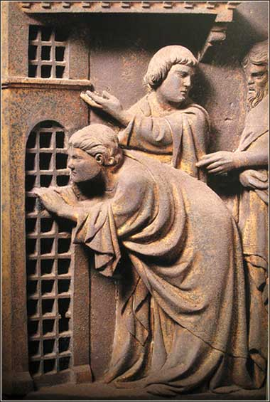 <i>Disciples Visit John the Baptist in Prison (detail)</i> by Andrea Pisano ca. 1463, from the South Doors of the Florence Baptistry.