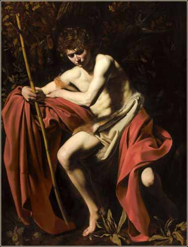 John the Baptist, Wilderness, by Caravaggio c. 1604