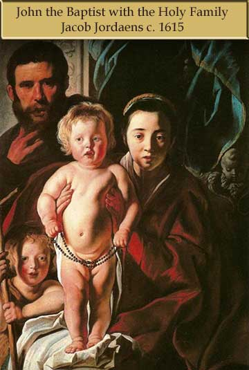 John the Baptist as a baby with Jesus, Joseph and Mary