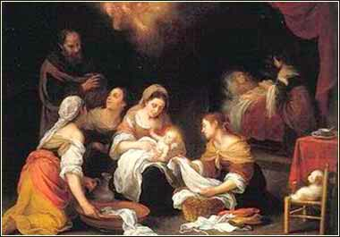 Devotional painting of the birth of John the Baptist