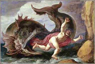 "Jonah and the whale, ""and it vomited Jonah out upon the dry land""."