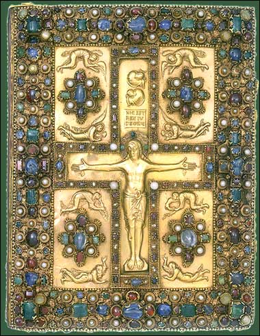 The cover of the <i>Lindau Gospels</i> ca. 1880.