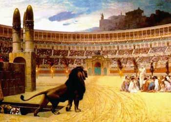 Christian martyrs and lion
