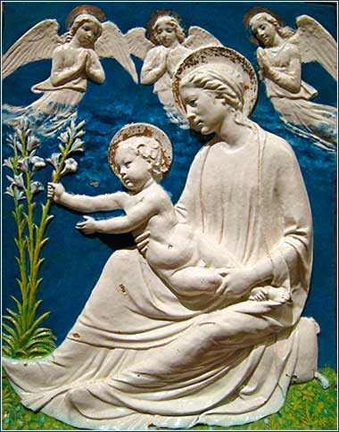 ><i>Virgin and Child</i> by Luca Della Robbia, ca. 1455.
