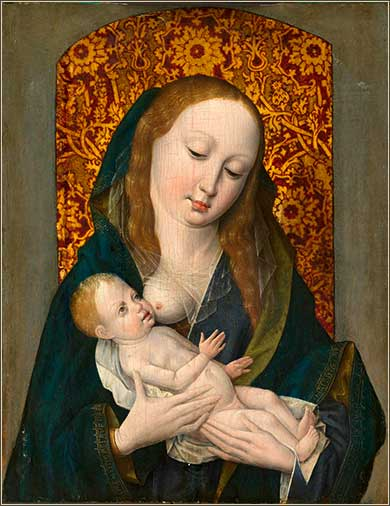 <i>Madonna and Child</i>, artist unknown, 15th Century Flemish oil on wood.