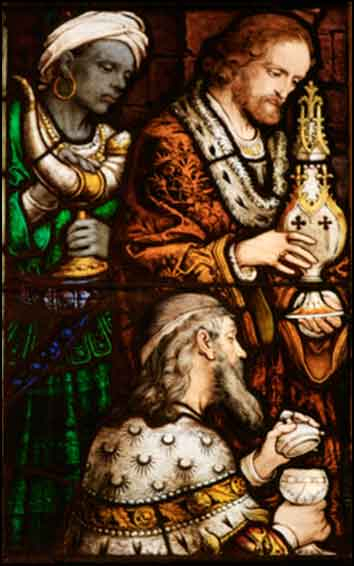 Adoration of the Magi, stained glass