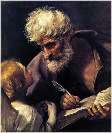 <i>Saint Matthew and the Angel</i> by Guido Reni, ca. 1625.