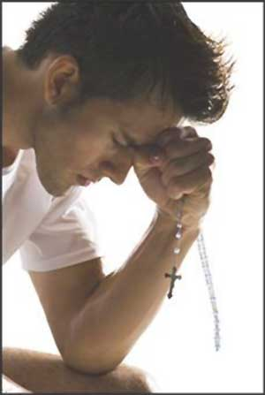 Christian meditation, man in prayer