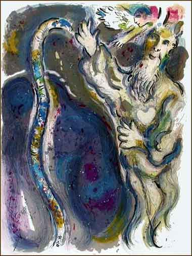 Marc Chagall painting of Moses and the Serpent staff