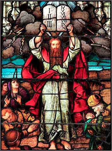 <i>Moses and the Ten Commandments</i>, window in the Cathedral of St. Paul, Pittsburgh, by Franz Mayer.