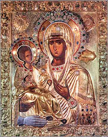 devotional icon of Jesus and Mary