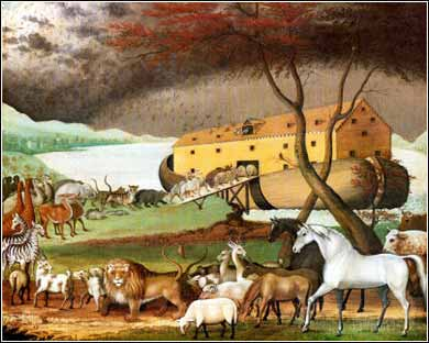 Devotional painting of Noah's ark, animals, by Edward Hicks c. 1846
