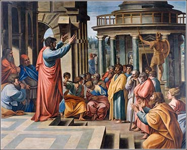 Paul Teaching in Athens, devotional painting by Raphael, 1505