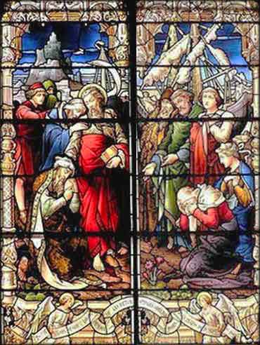 Devotional stained glass of Paul saying farewell to the Ephesian elders