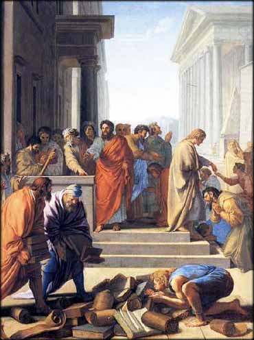 Paul Teaching at Ephesus, devotional painting by Eustache LeSueur 1649
