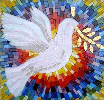 Dove of peace in contemporary stained glass