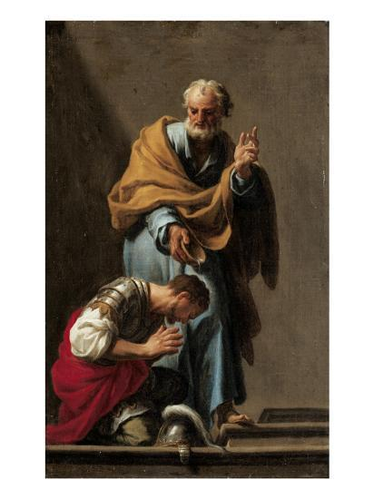Devotional Painting of Peter Baptising Cornelius by Francesco Trevisani
