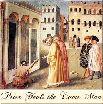 Devotional painting of St. Peter healing the lame man