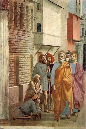 devotional painting, St. Peter Heals with His Shadow, Masaccio 1475