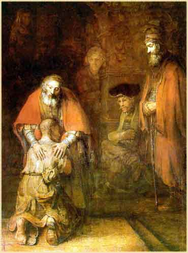 Devotional painting of the Return of the Prodigal Son, by Rembrandt