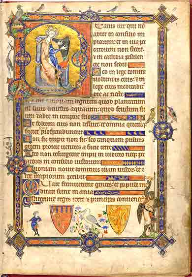 Psalm 1 from the <i>Alphonso Psalter</i>, English ca. 1284.
