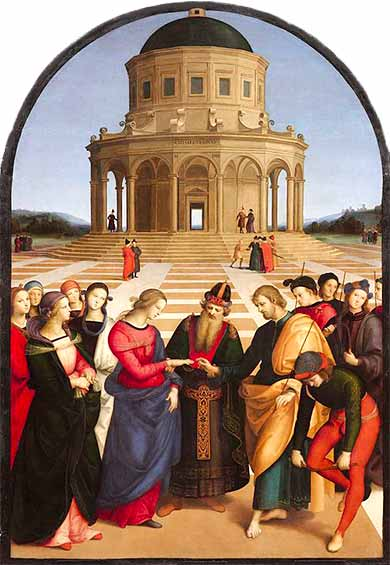 <i>Betrothal of the Virgin</i> by Raphael ca. 1504.