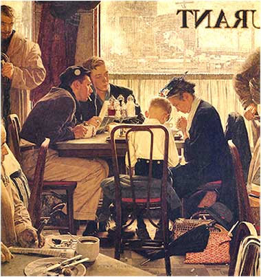 <i>Saying Grace</i> by Norman Rockwell, ca. 1951.