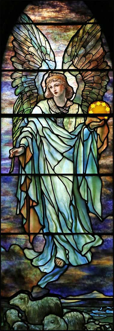 Stained glass window of an angel by Louis Comfort Tiffany, ca. 1890.